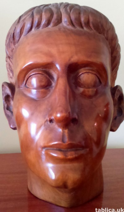 For Sale: Wood Sculpture: Roman Head