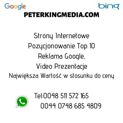 Strony Internetowe/Pozycjonowanie top 10/Reklama Google