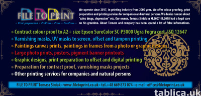 Printing services Contract proof Paintings Canvas prints etc