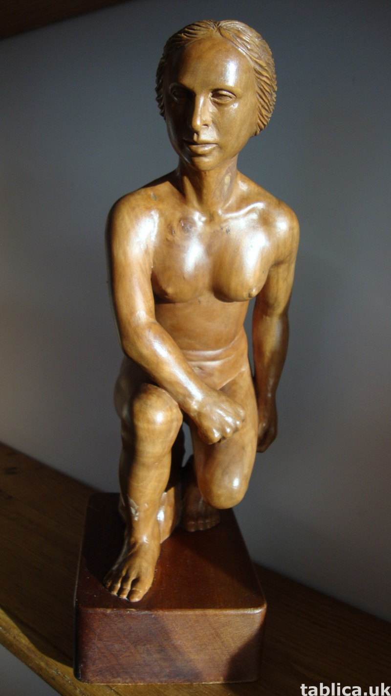 Exotic Wood Sculpture - Woman and Rock - Solid Wood !!! 1