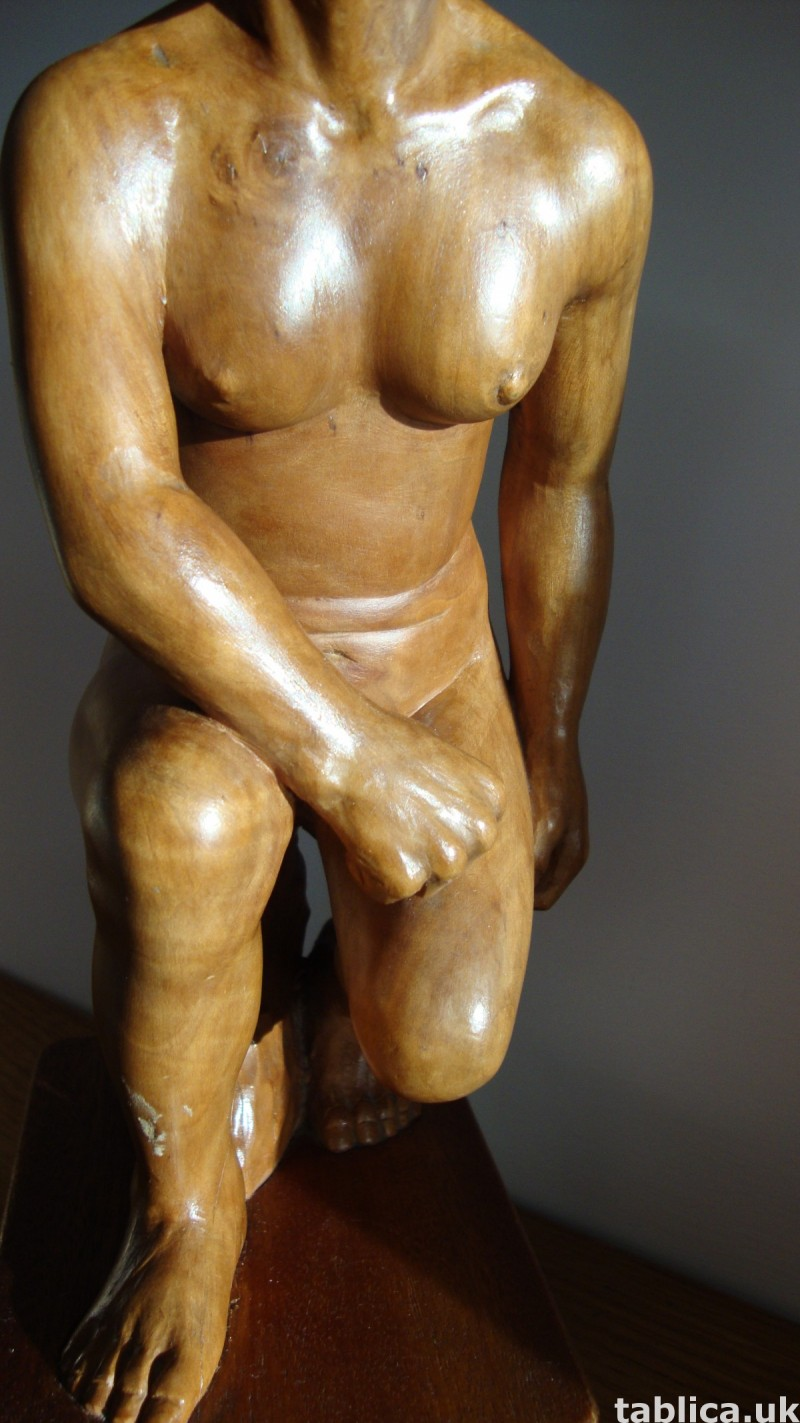 Exotic Wood Sculpture - Woman and Rock - Solid Wood !!! 3