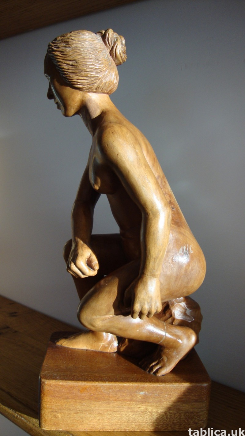 Exotic Wood Sculpture - Woman and Rock - Solid Wood !!! 6