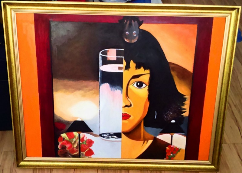 Oil Painting- Woman and Glass -Tamara Ł. - Not Photocopy !!! 0