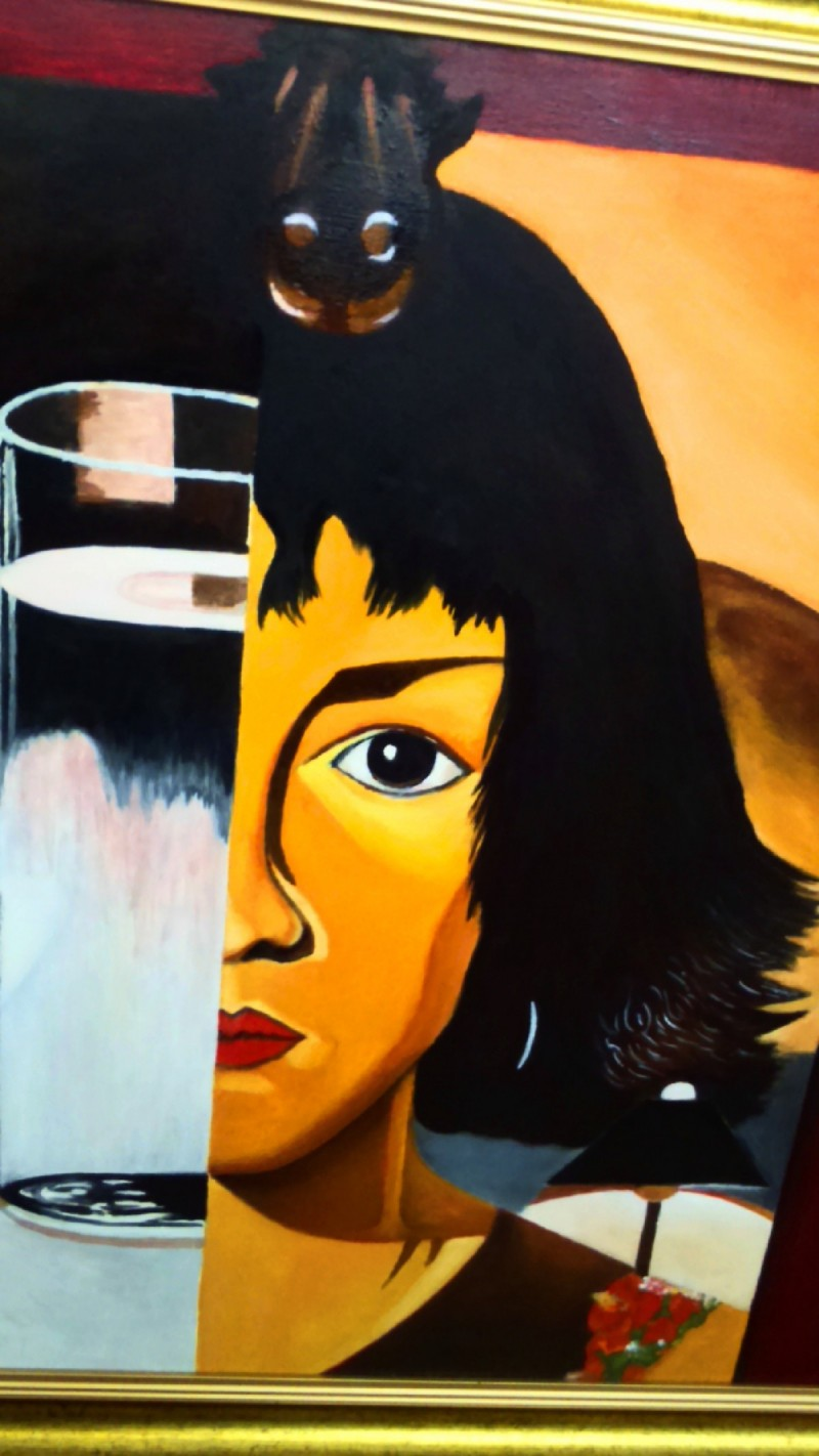 Oil Painting- Woman and Glass -Tamara Ł. - Not Photocopy !!! 1