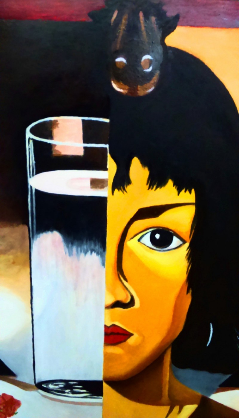 Oil Painting- Woman and Glass -Tamara Ł. - Not Photocopy !!! 5