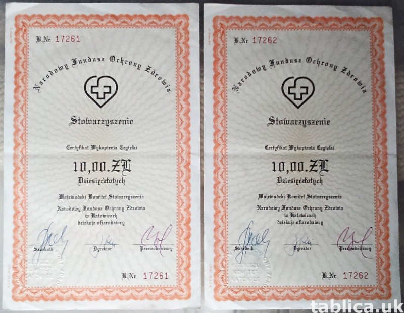 For Sale: 2 Original Brick Certifications 0