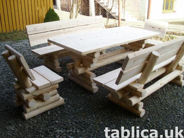 meble ogrodowe stół + 2 ławy + 2 fotele 2