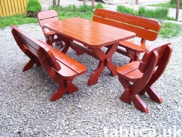 meble ogrodowe stół + 2 ławy + 2 fotele 3