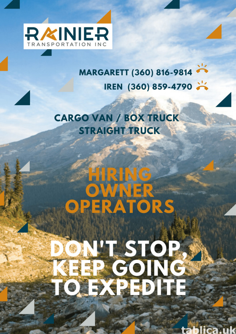 Rainier Transportation Inc invite drivers to cooperation wit 0