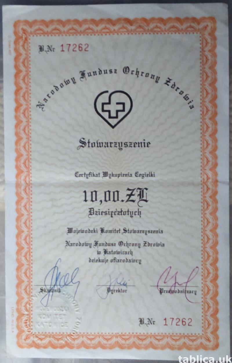 2 Original Certificates of the PL National Healthcare Fund 1