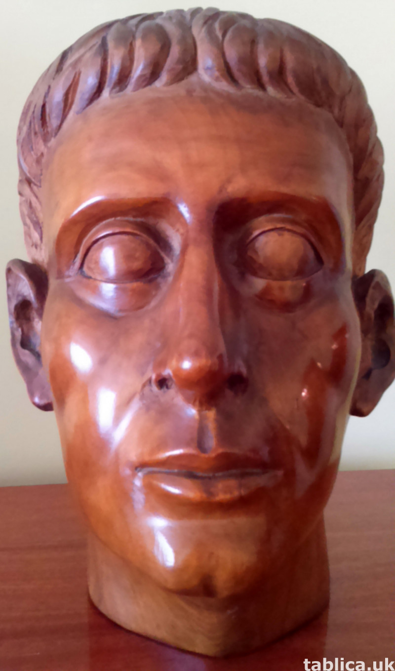 Hand Carved: Roman Head - Solid Wood !!!  0
