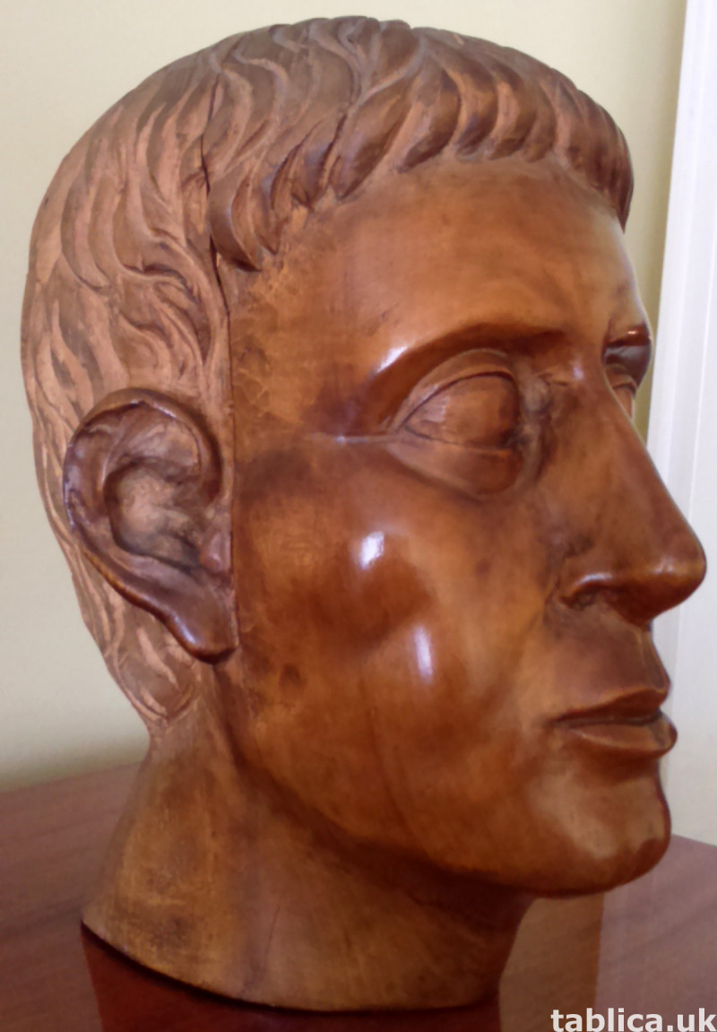 Hand Carved: Roman Head - Solid Wood !!!  1