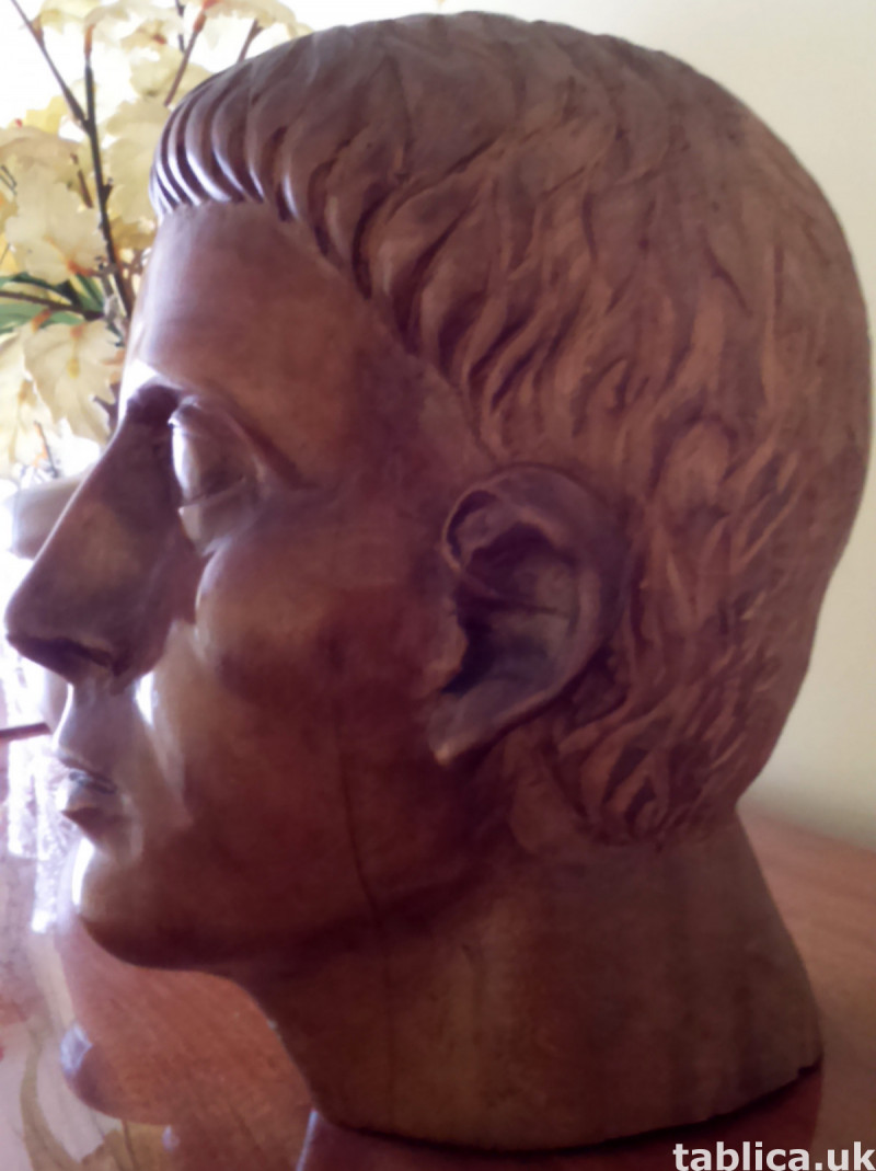 Hand Carved: Roman Head - Solid Wood !!!  2